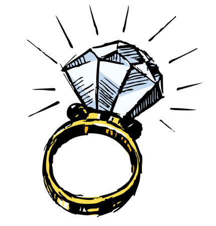 engagement: Ring with a big sparling diamond Illustration