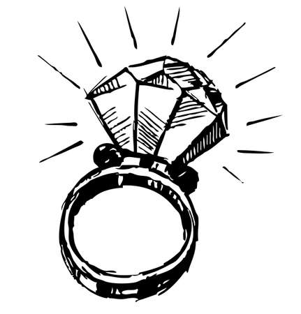 diamond rings: Ring with a big sparling diamond Illustration