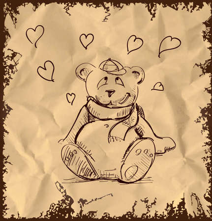 In love cute teddy bear on vintage background Vector