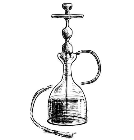 intoxication: Hookah on white background Illustration