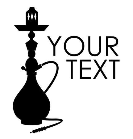 waterpipe: Hookah silueta con texto de ejemplo Vectores
