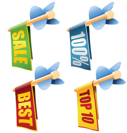 Set of four arrows with banners and sale texts Stock Vector - 19449172