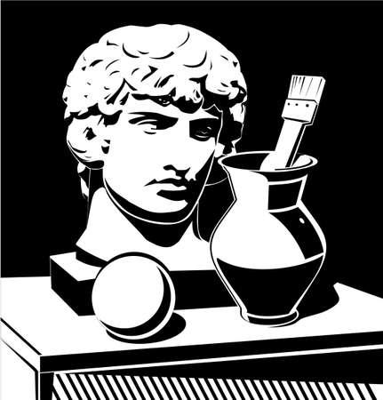 Apollo head, jug and brush