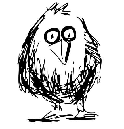 lowbrow: Cute bird in cartoon style Illustration