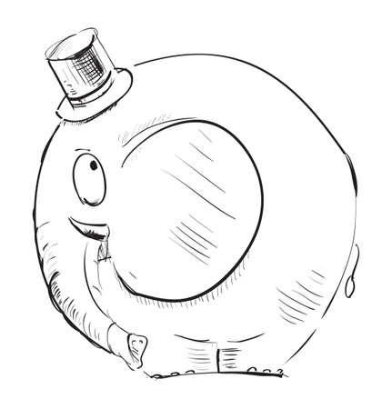 tophat: Cartoon elephant in top-hat