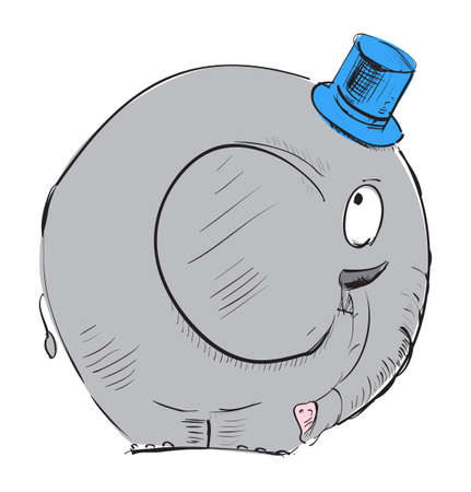 Cartoon elephant in top-hat Vector
