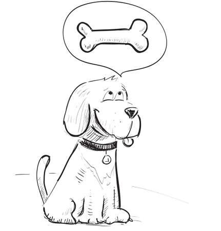 perro caricatura: Perro de la historieta so?con huesos