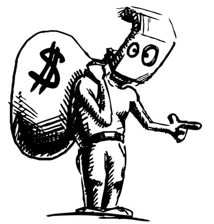 dishonest: Robber in a mask and with money bag
