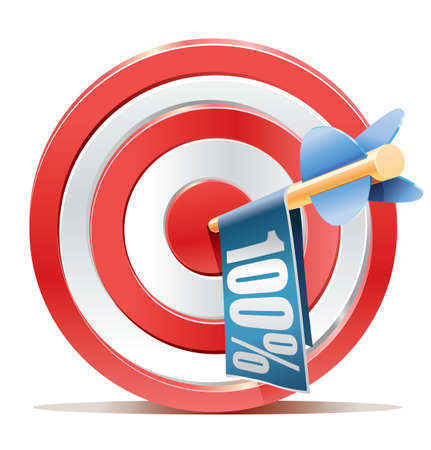 Red darts target aim and banner 100  Vector