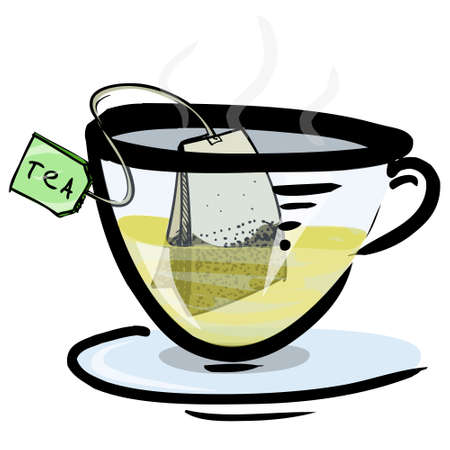 Hot green tea in a glass cup Vector