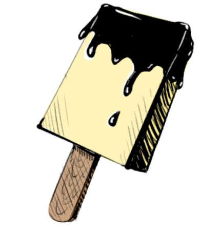 wooden stick: Chocolate ice cream dessert on wooden stick