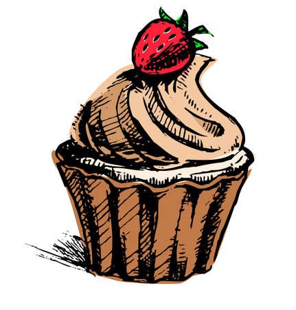 Creamy cup cake with delicious berry Stock Vector - 19591704
