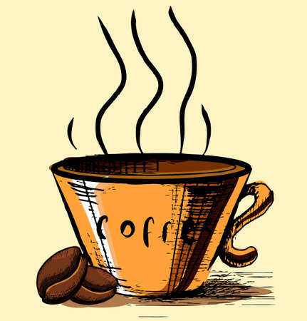 Cup with two coffee beans Stock Vector - 19591745