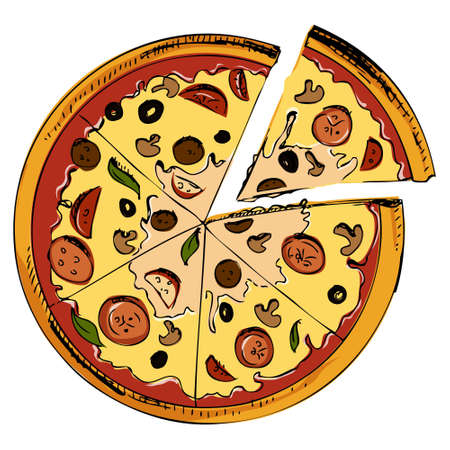supreme: Sliced pizza icon Illustration