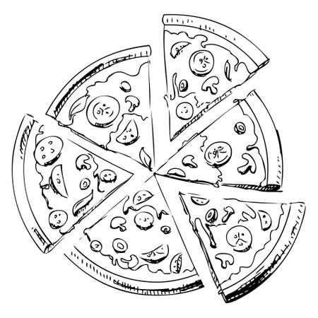 pepperoni pizza: Sliced pizza icon Illustration