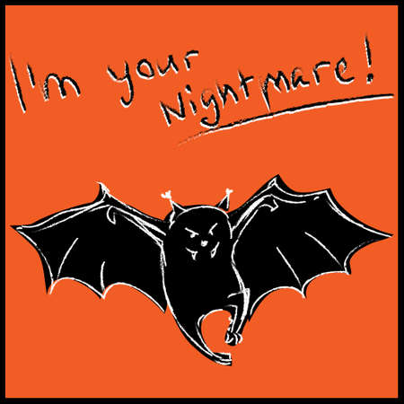 flying coffin: Funny bat with text halloween card Illustration