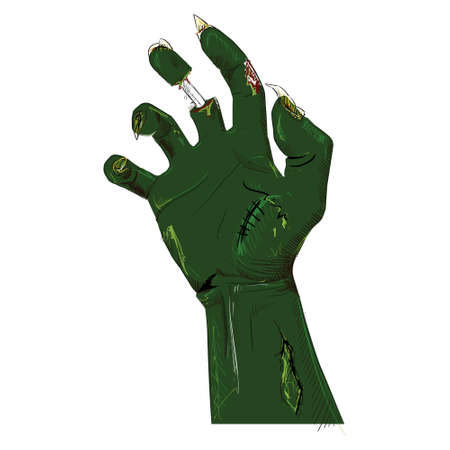 Zombie hand isolated on white Stock Vector - 19591971