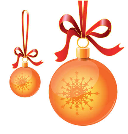 Christmas toy balls on ribbons Vector