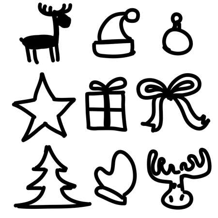 Christmas objects collection cartoon simple shapes Stock Vector - 19591783