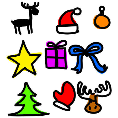 Christmas objects collection cartoon simple shapes Stock Vector - 19591815