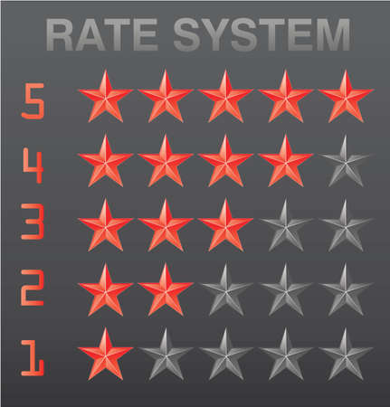Rating stars set red illustration Vector