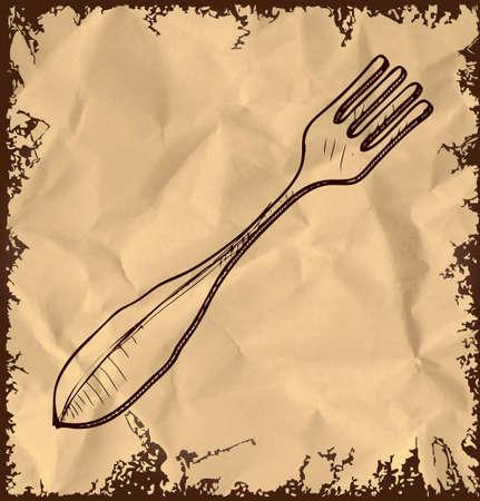 Fork icon isolated on vintage background photo