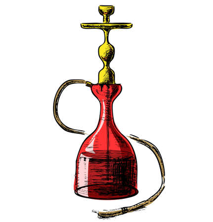 waterpipe: Hookah on white background Illustration