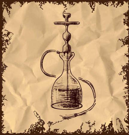 ivresse: Ic�ne de narguil� sur fond vintage