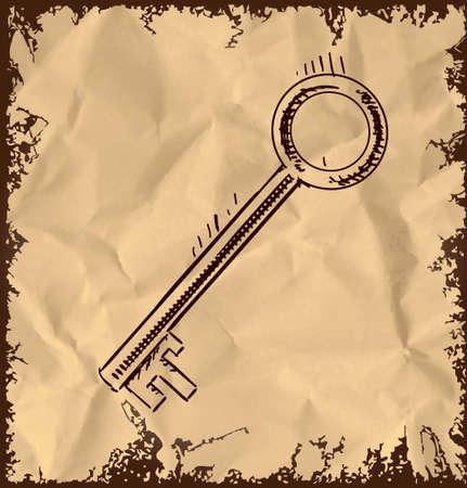 oude sleutel: Oude sleutel pictogram op vintage achtergrond Stock Illustratie