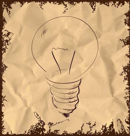 Old light bulb icon on vintage background Vector