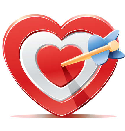 Red heart target aim with arrow Vector