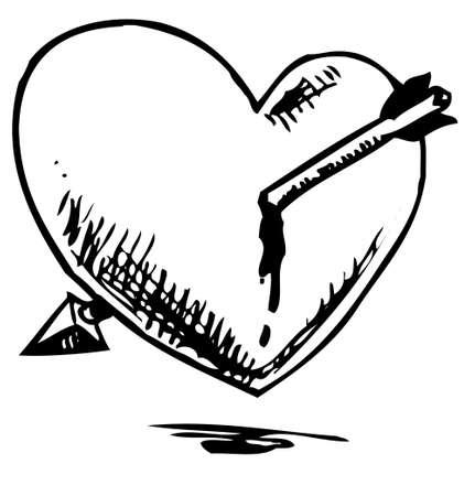 broken heart: Heart hurted with arrow