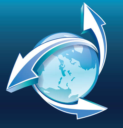 Earth with arrows blue icon Illustration