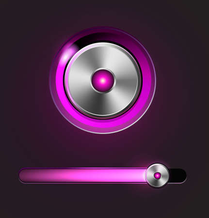 Glossy media player button and track bar Stock Vector - 19842427
