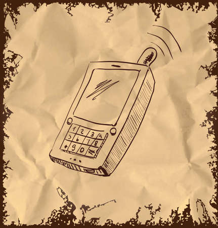 Old mobile phone on vintage background Vector