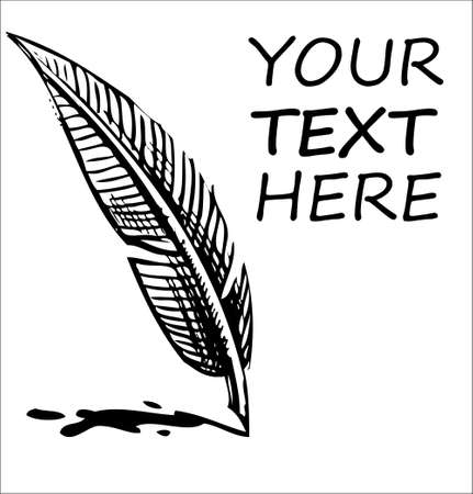 Writing quill with ink blot and sample text Stock Vector - 19897974