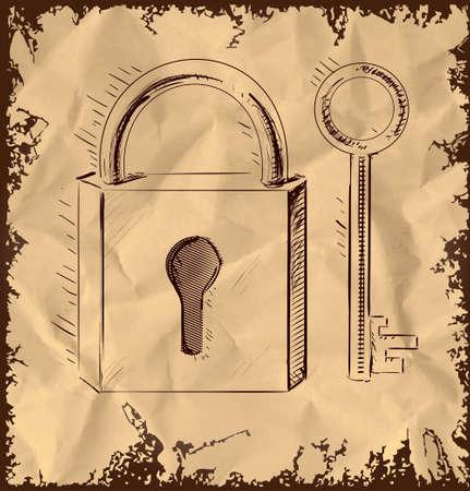 oude sleutel: Oude sleutel en slot op vintage achtergrond