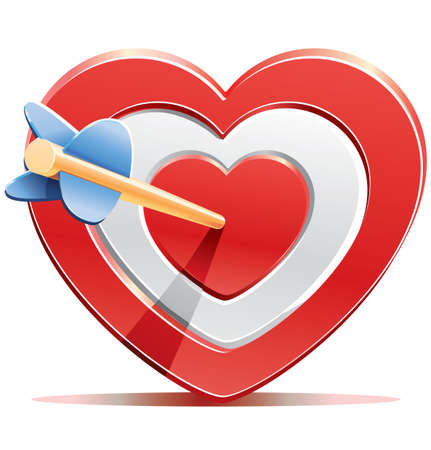 romance strategies: Red heart target aim with arrow Illustration