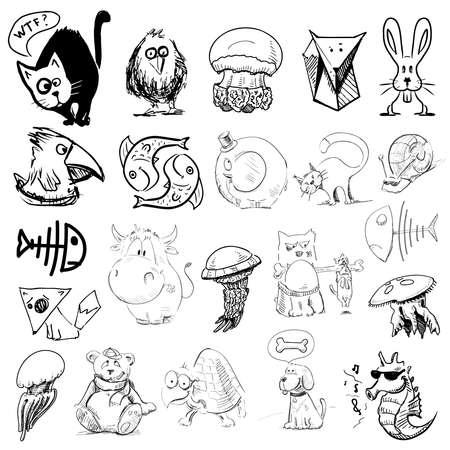 gato caricatura: Animales ilustración dibujo Vectores