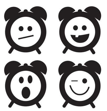 reloj despertador: Sonrisas reloj Conjunto de la historieta del doodle