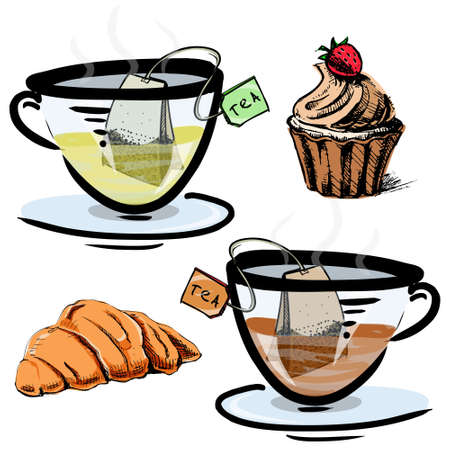 Green and black tea in glass cups with sweets Vector