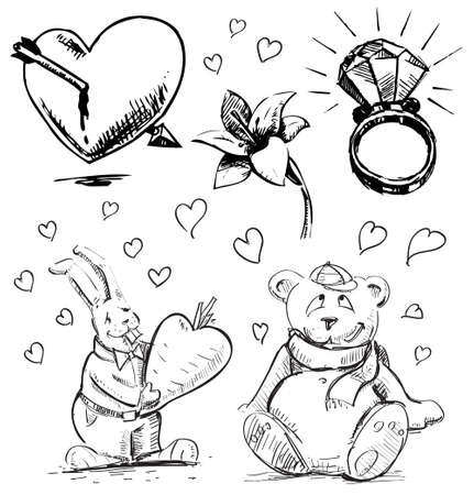 Romantic characters and objects set Vector