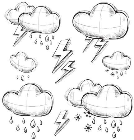 Nasty weather icons set Иллюстрация