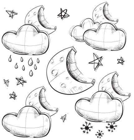 iconos del clima: Iconos del tiempo night Grupo Vectores