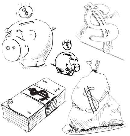 argent: Money and cash icons set Illustration