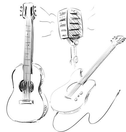 Music icons set with guitars and microphone Stock Vector - 19898023