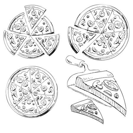 Collection of sliced pizza Ilustrace