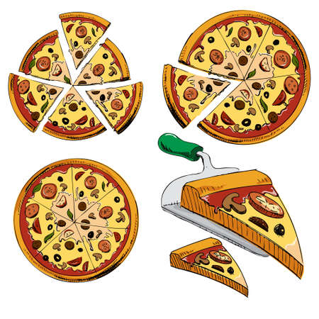 pepperoni: Collection of sliced pizza Illustration