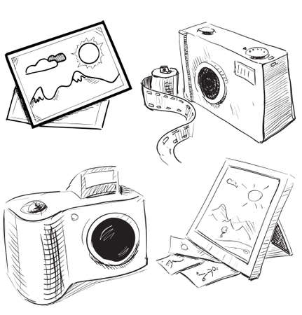 Camera and picture icons set Vector