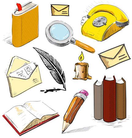 lectura y escritura: Conjunto de la Oficina de lectura escritura objetos comunicantes